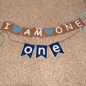 First birthday banners by mudpie and from Etsy